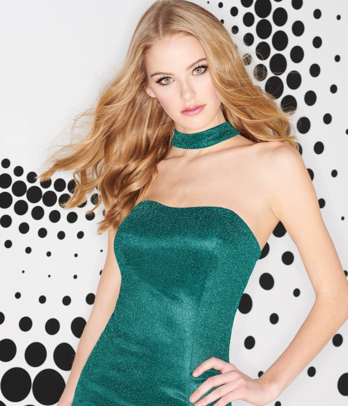 Blonde in green strapless dress