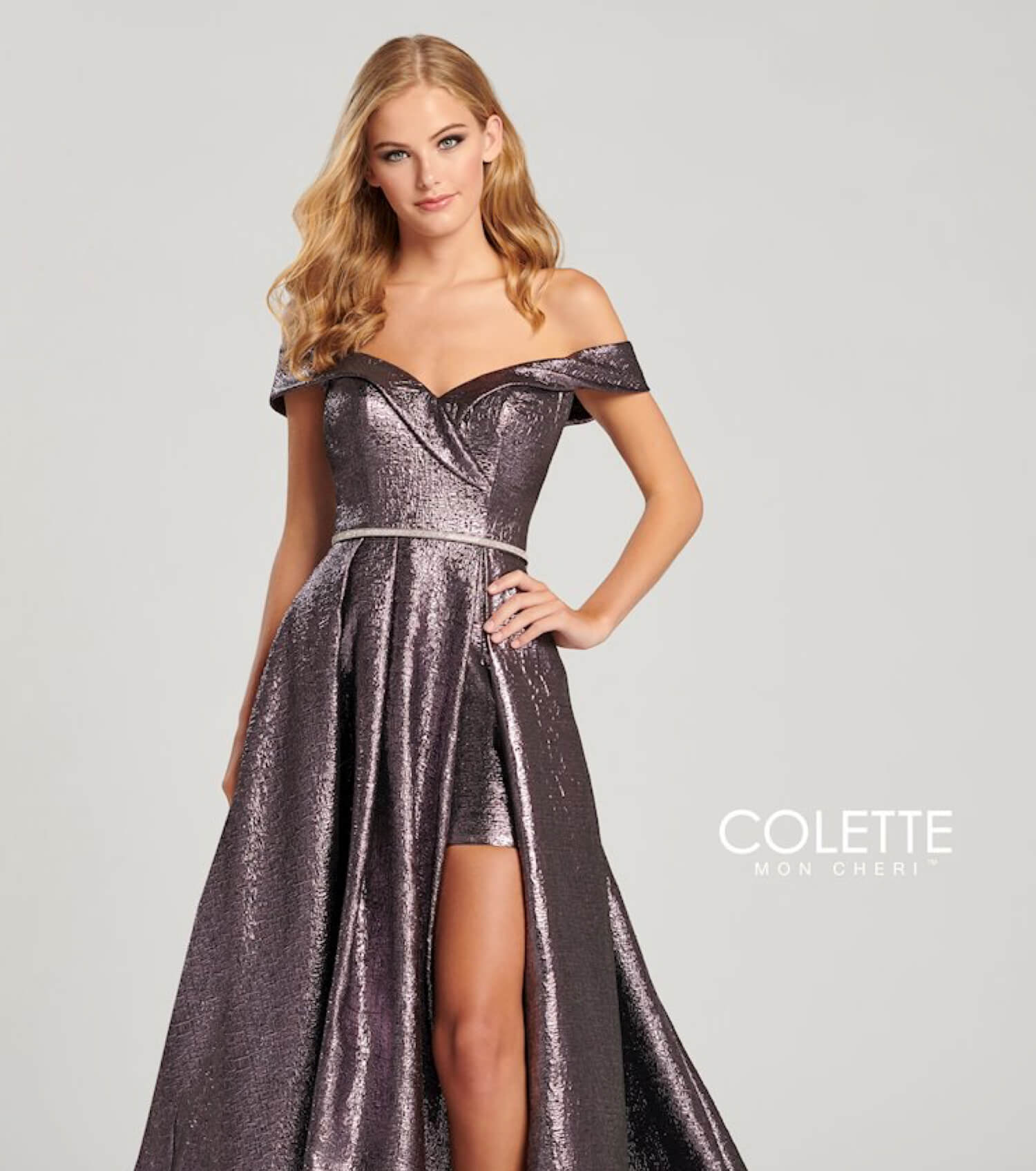 Blonde model wearing a sparkling Colette dress