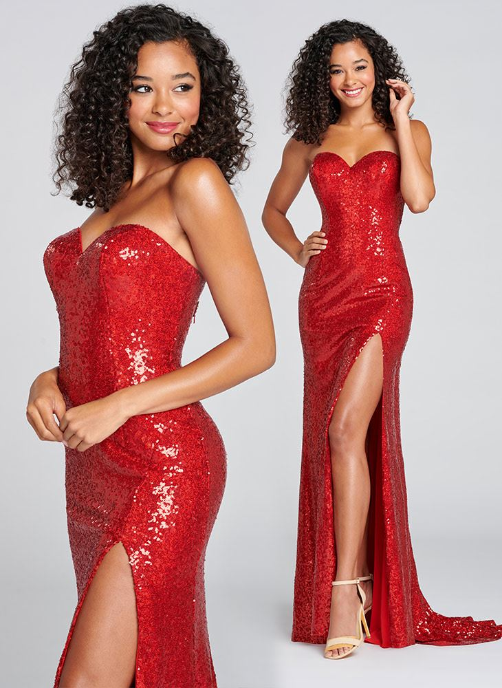 Brunette in red sparkly prom dress by Colette for Mon Cheri