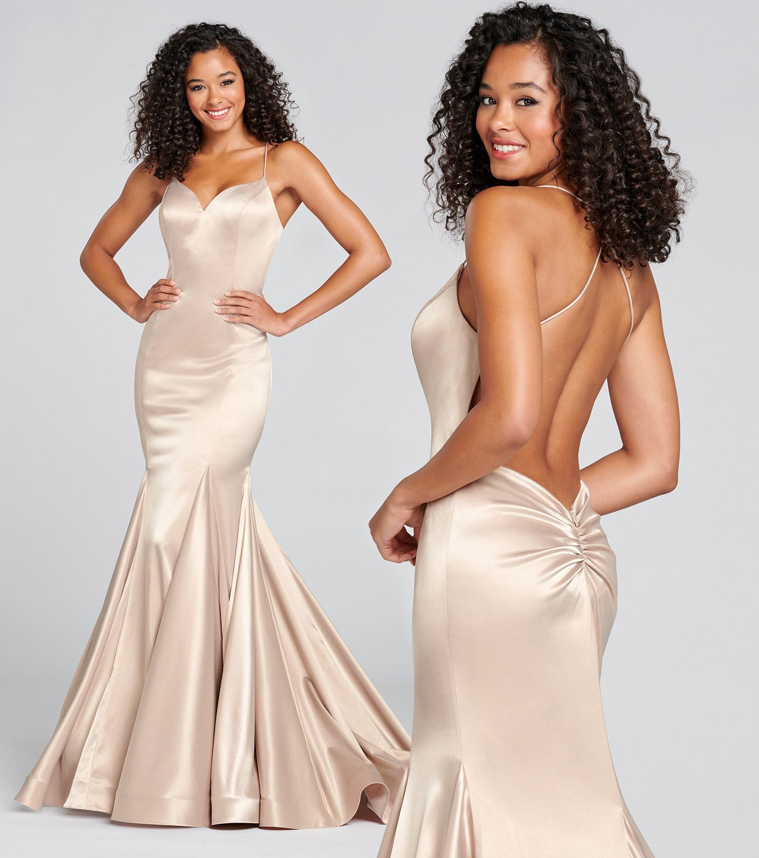 Bruntte model wearing champagne prom dress by Colette for Mon Cheri