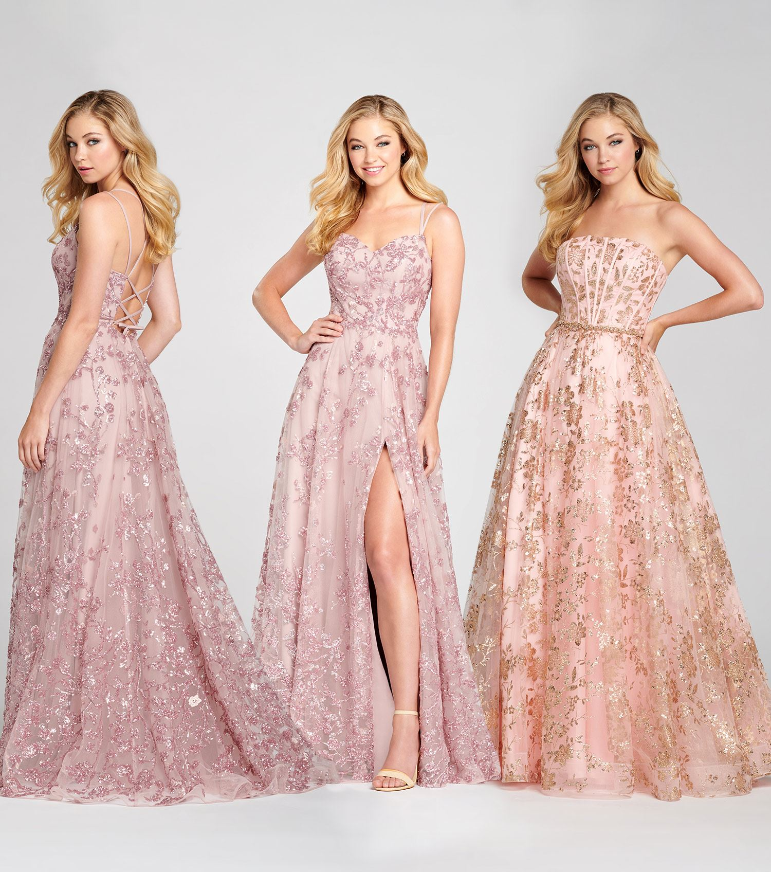 Blonde model wearing lace prom dresses by Colette for Mon Cheri